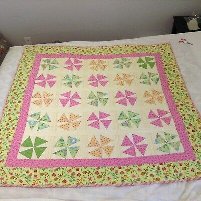 """Vintage Quilt BRIGHT COLORFUL Funky  47"""" x 47"""""""