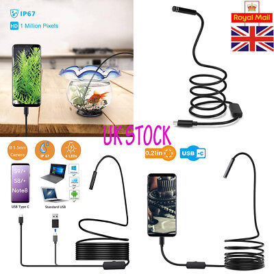 5.5mm 6 LED Phone Endoscope Borescope Inspection Camera for Android iPhone 1-10m