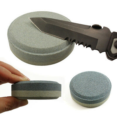 Round Axe Sharpening Stone Hand Dual Grit Pocket Sharpening Stone Tool Accessory
