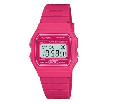 Casio Digital Watch 30M Water Resistant Pink Resin Strap Quartz Movement
