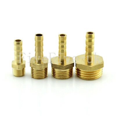 "6mm 1/8""1/4""3/8""1/2"" Brass Barbed Hose Tube Fuel Pipe Fittings Coupler Connector"