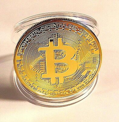 FAST SHIPPING Gold BITCOIN!! Plated Physical Bitcoin in protective acrylic case