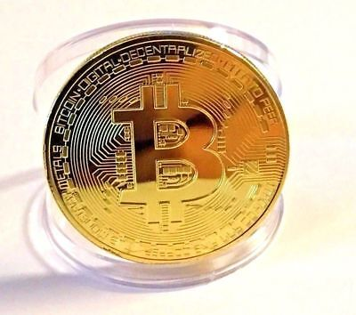 Rare!! ! Gold Plated Physical Bitcoin in protective acrylic case FAST SHIPPING