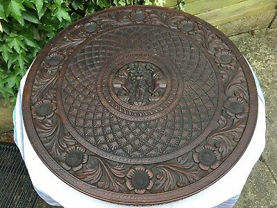 Antique Anglo Indian Heavily Carved Wooden Table Top Only