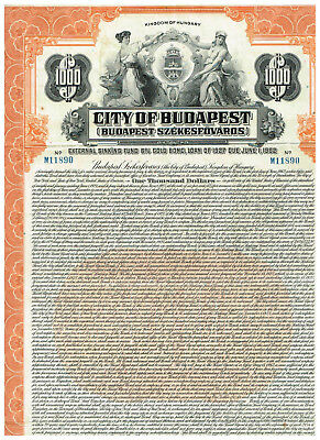 City of Budapest, 1927, $1000 Gold-bond, uncancelled