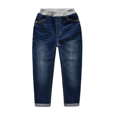 NABER Boys Casual Slim Washed Elastic Waistband Soft Denim Pants Jeans Size 4-14