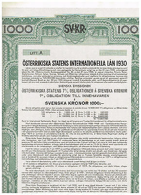 Austrian Government International Loan 1930, Vienna 1930, 1000 Svenska Kronor