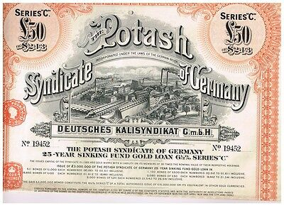 Potash Syndicate of Germany, 1925, LB 50 Sinking Fund Gold Loan