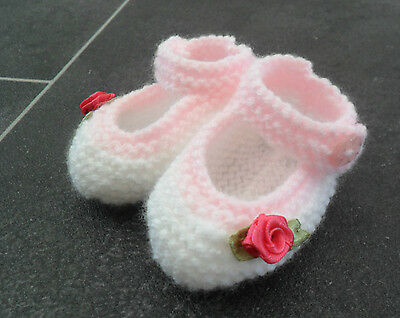 New - Hand Knitted White Baby Bootees With Pink Edging And Rosebuds - 0-3 Months