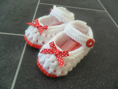 New - Hand Knitted - White Baby Bootees With Red Sole And Bows - 0-3 Months