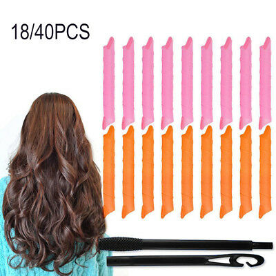 18/40Pcs Long Hair Curlers Curly Formers Rollers Spiral Ringlets Beauty Tool Br