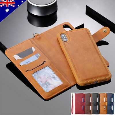 For iPhone Xs Max Xr X 8 7 Plus Luxury Detachable Leather Flip Wallet Case Cover