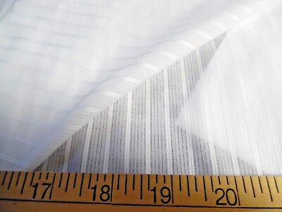 "ITALIAN SATIN STRIPE COTTON BATISTE~WHITE~18""x29""~HEIRLOOM SEWING~SHEER~SOFT"