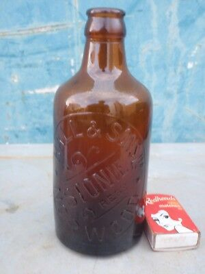 Ginger Beer Bottle Hall & Sons Norwood S.A.  Amber Glass
