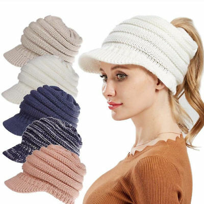 a0a373316 WINTER WOMEN MESSY Bun Softest Cable Ponytail Stretchy Knit Beanie ...