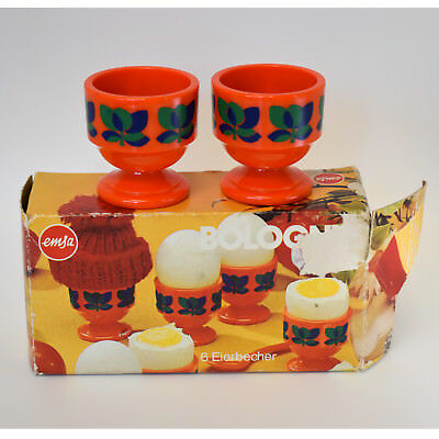 Vintage Egg Cups Emsa Bologna Boxed x6 Orange Plastic Made in West Germany 70s