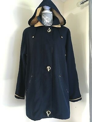 5b7acc63a86 Ladies David Barry Navy Blue   Gold Mac Coat Size 12 Women s Trench Jacket
