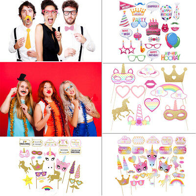 10/22/30/60pcs Party Photo Props Booth Kit Camera Birthday Wedding Decorations