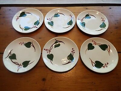 6 Southern Potteries Blue Ridge Stanhome Ivy Bread Plates