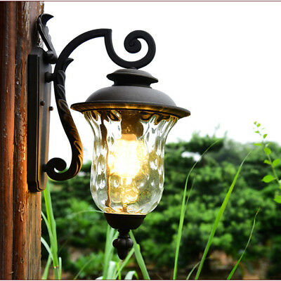 Antique Style Water Glass Black Aluminum Lantern Outdoor Wall Lights Sconces S/L