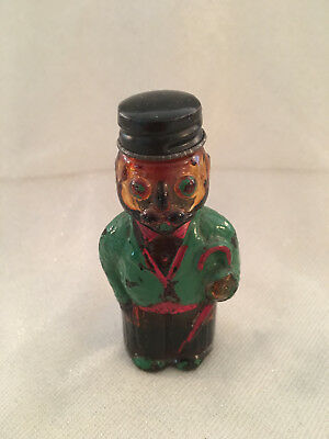 Vintage Figural Glass Painted Man in Green Sportcoat / Umbrella Liquid Bottle