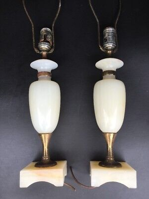 Vintage Pair Alabaster And Brass Table Lamps Need Rewiring Cleaning Classic