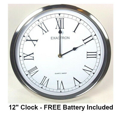 "12"" Silver Round Wall Clock Silent Operation Office Home School Wall Clock"
