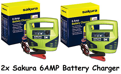 2x 12 Volt 6 Amp Heavy Duty Car Van Bike Battery Charger up to 1.8L LED Compact