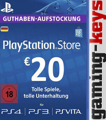 20 EUR DE PlayStation Network Card - PSN PS4 PS Vita 20€ Euro Guthaben DE