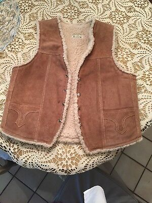 Men's Genuine Brown Leather Western Fair Thick Pile Lined Vest  Size 42 Sharp