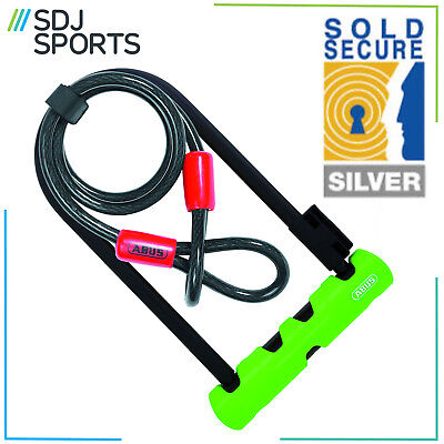 ABUS Ultra 410 Bike U / D Lock With 1.20m Steel Flex Cable Silver Sold Secure
