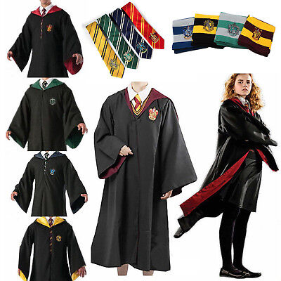 Harry Potter Adult Kids Hogwarts Robe Cloak Costume Hood Tie Scarf Cosplay Props
