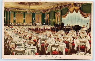 Postcard IL Chicago Palmer House Hotel Empire Room Vintage View E5