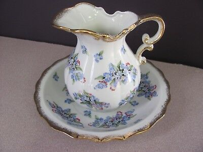 Royal Crown Pitcher and Bowl China with Blue Forget-Me-Nots Made In Japan