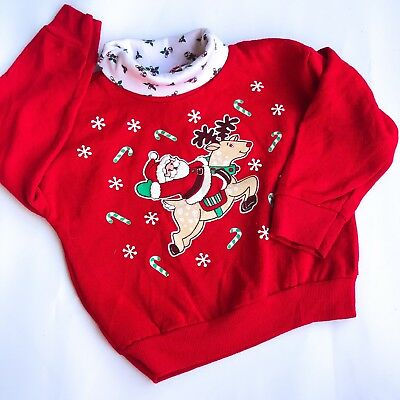 VTG Kids 80s Santa American Xmas Christmas Fugly Red Novelty Jumper Retro 6-12 M