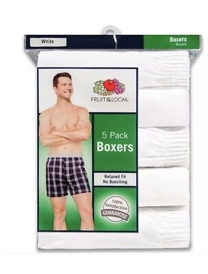 Fruit Of The Loom Relaxed Fit White Mens Boxers 10-Pack  !