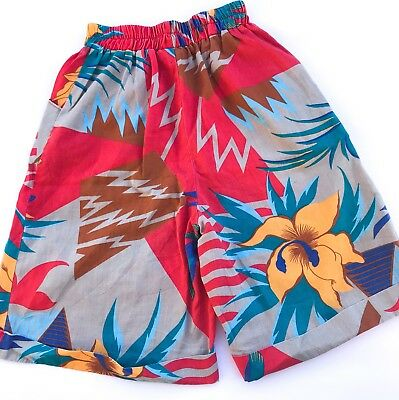 Vintage Kids Classic 70s American Tiki Boho Floral Girls Culottes Shorts 5 6 7 Y