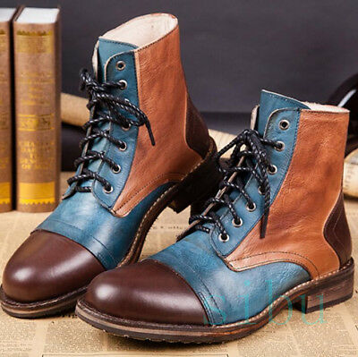 Men's Real Leather British Vintage Cowboy Weatern Ankle Boots Riding Outdoor