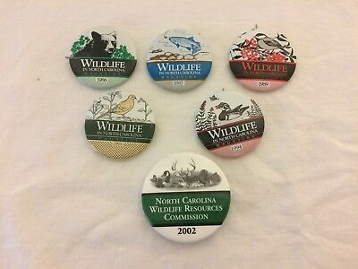 5 Wildlife in North Carolina NC Magazine Pins Buttons 1 Commission Duck Fish Etc