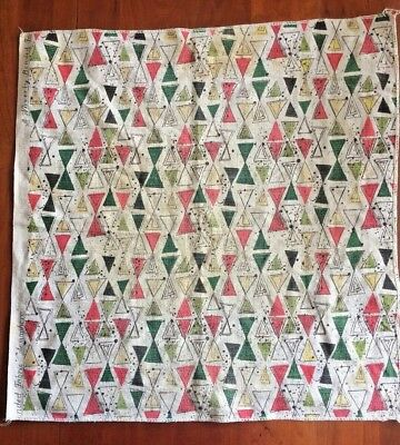 Vintage Waverly Bonded Fabric Semap Pattern Mcm Cotton Bark Cloth 23