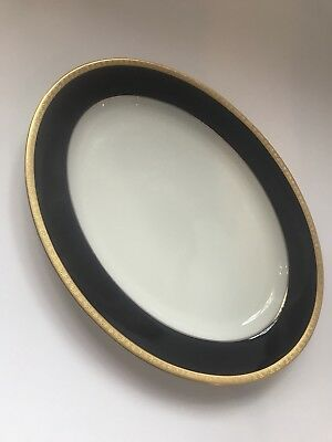 Legacy By Noritake Oval Serving Platter Cobalt Blue And Gold Plated Valhalla