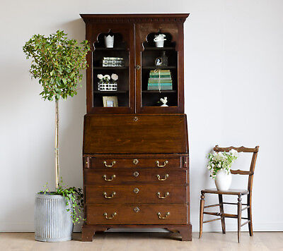 Antique Georgian Oak Glazed Bureau Bookcase Secretaire