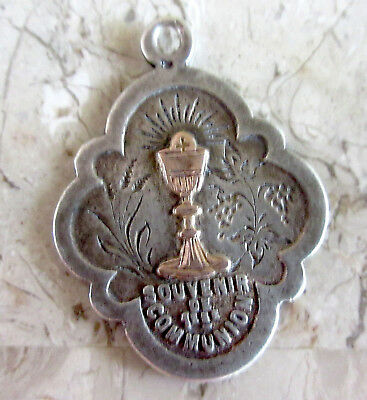 Vintage Sterling Silver/ First HOLY COMMUNION Medal/ French Religious Pendant