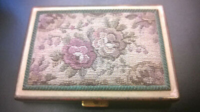 Vintage Rex Fifth Avenue Compact Flower Tapestry Needlepoint