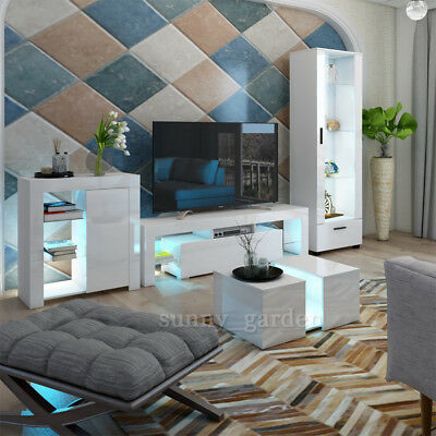 Modern Matt White Gloss Living Room Furniture Tv Unit Display