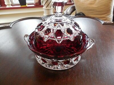 ANTIQUE RUBY STAINED RED BLOCK GLASS BUTTER DISH w/ LID