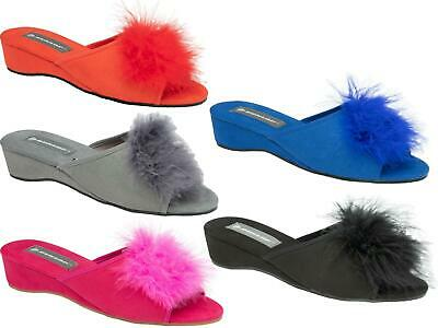 Ladies Womens Wedge Slippers Dunlop Feather Pom Pom Faux Suede Mules Heel Shoes