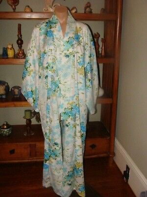 Ladies/Women's Vintage Japanese Kimono Robe - One Size - Blue & White Print
