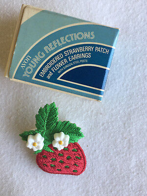 Vintage Avon Children's Young Reflections Strawberry Patch and Earrings