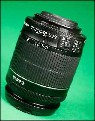 Canon EF-S 18-55mm F3.5-5.6 Image Stabilizer STM Zoom Lens with Front lens cap.